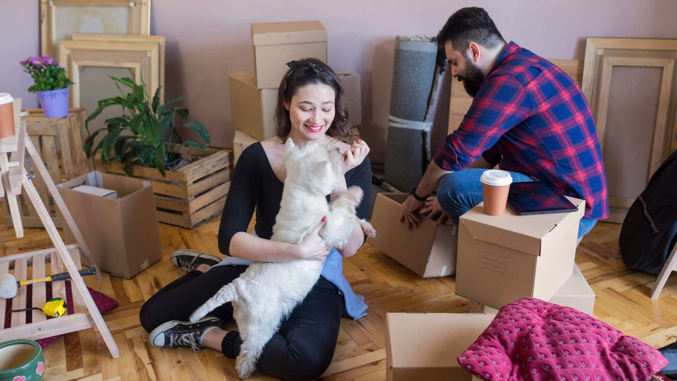 Junges Paar ist gerade frisch eingezogen und spielt mit Hund
