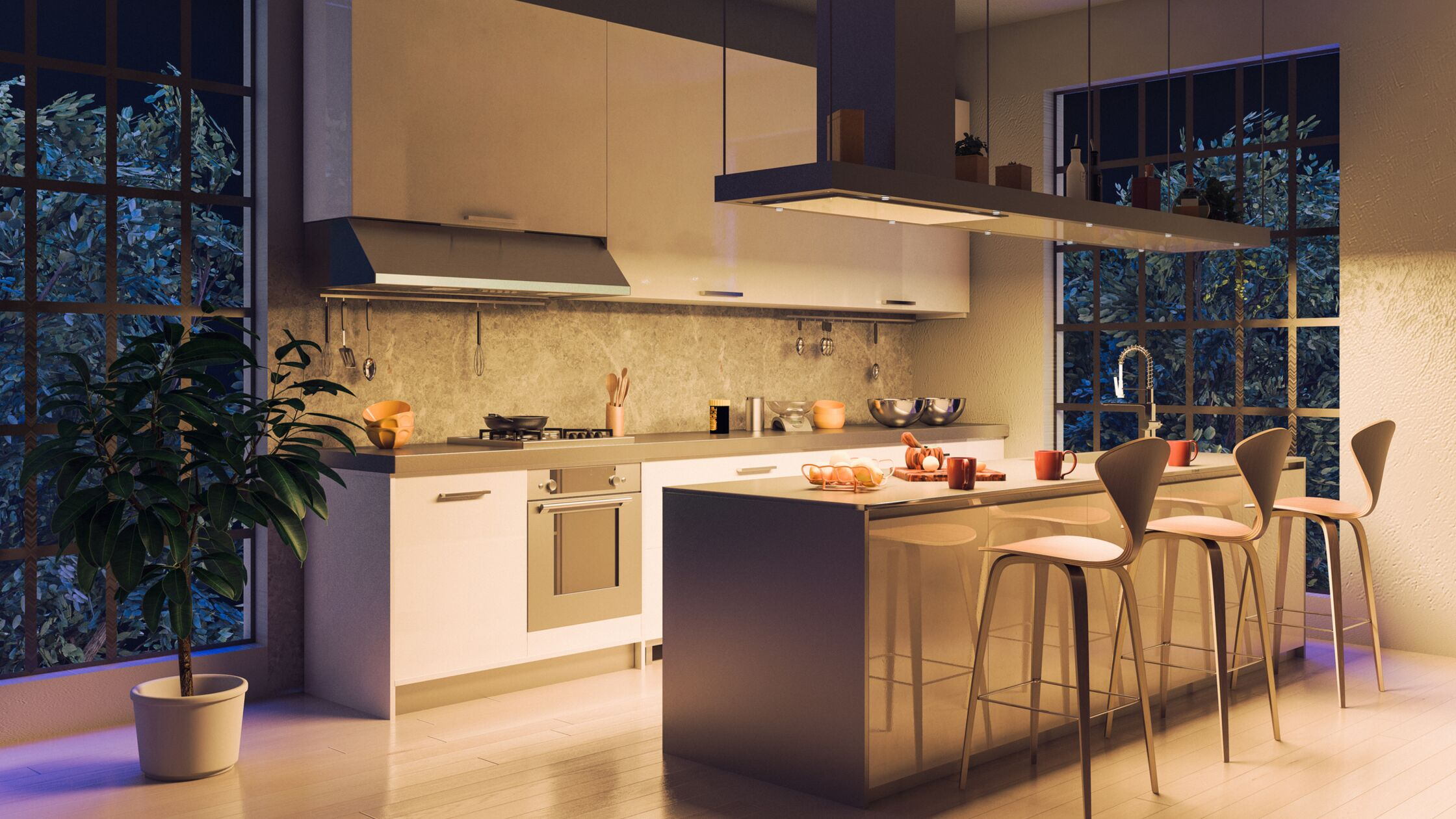 beleuchtete Küche bei Nacht