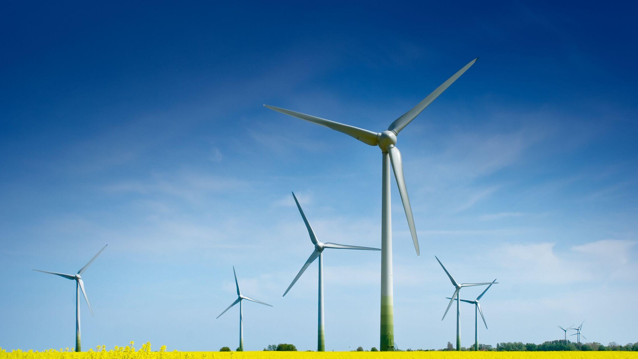 Landschaft mit Windrädern zur Stromerzeugung.