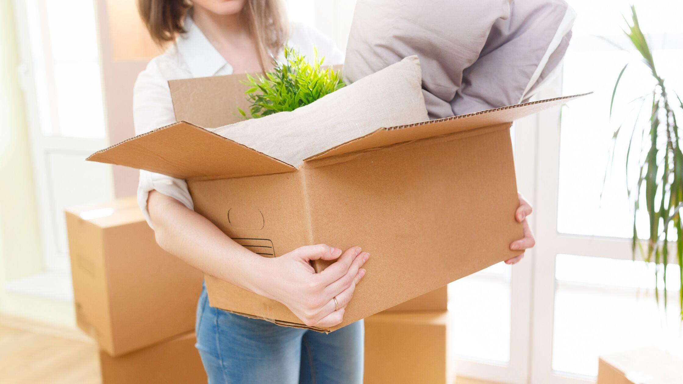 Junge Frau mit Umzugskarton in neuer Wohnung