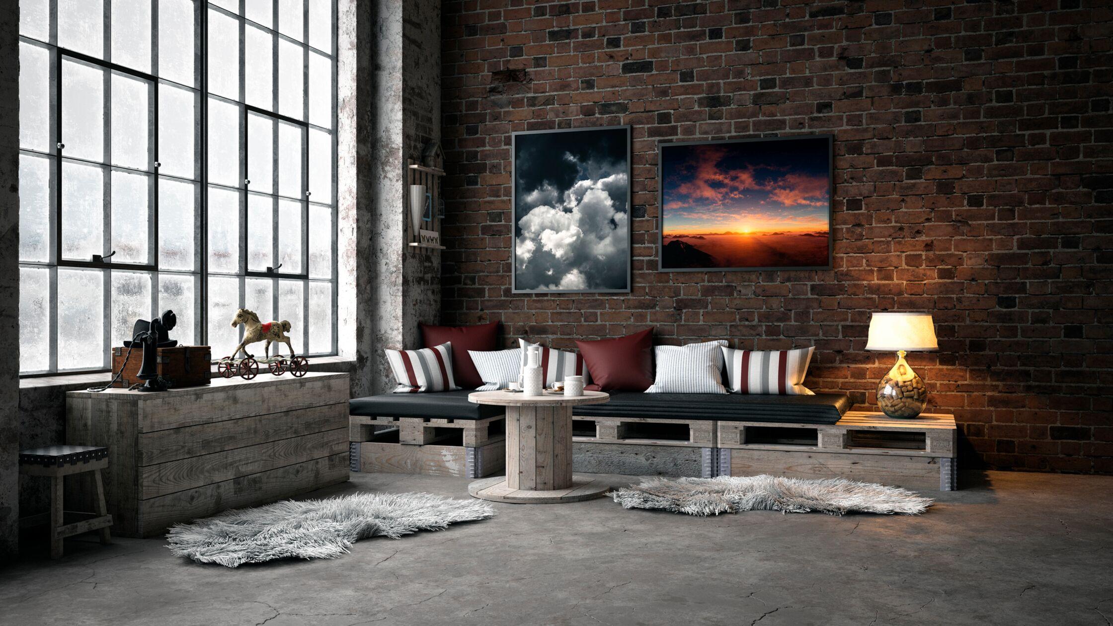 Chic eingerichtetes Loft im Industrial Style mit großer Fensterfront