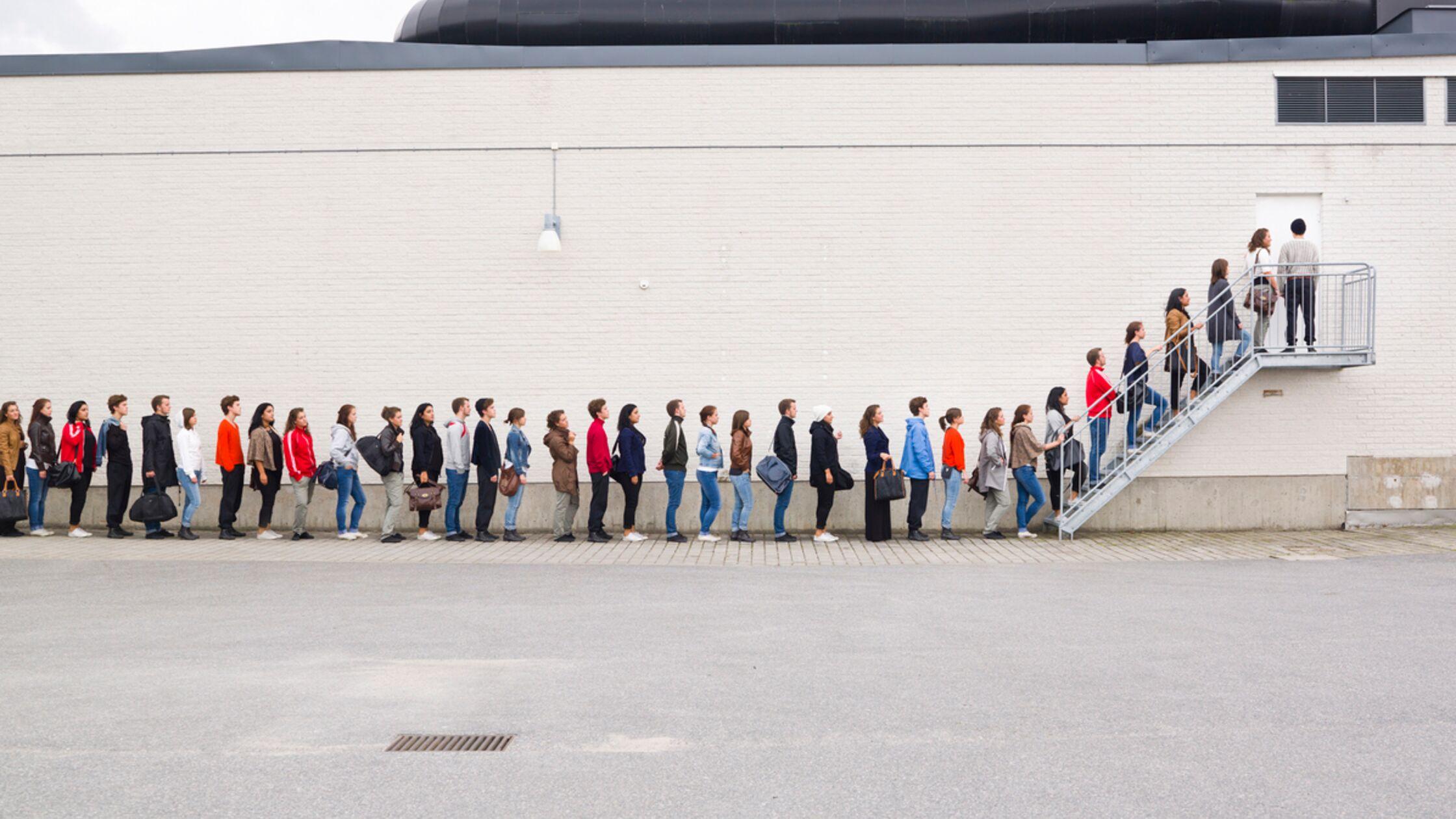 Studenten stehen an
