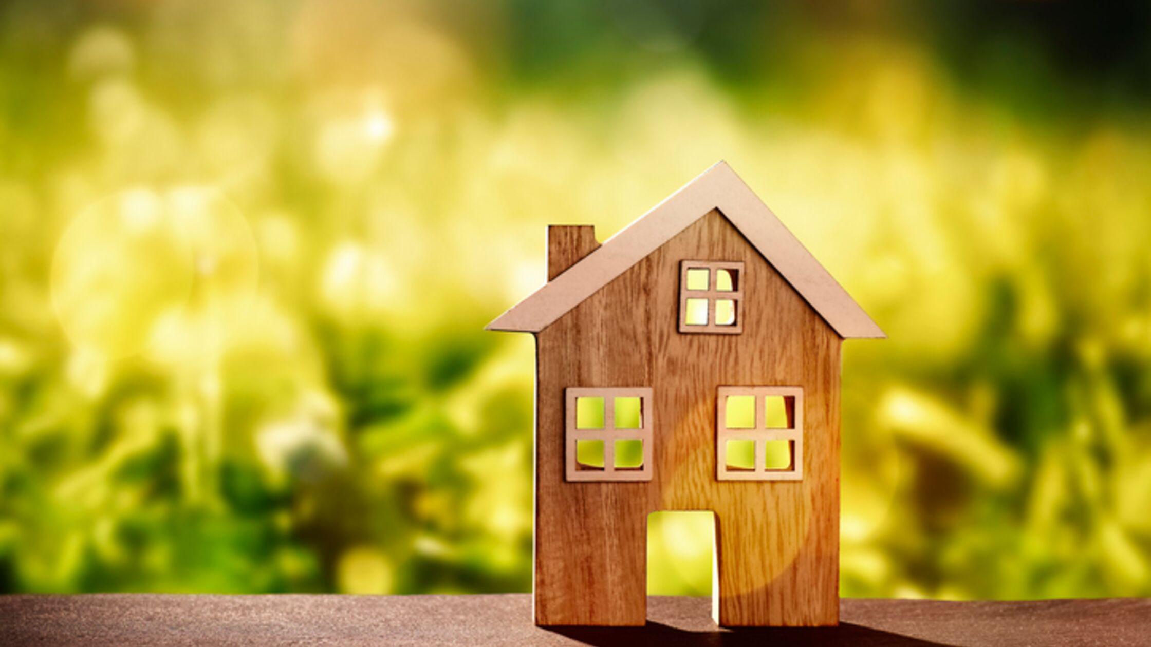 Holzhaus vor grüner Wiese