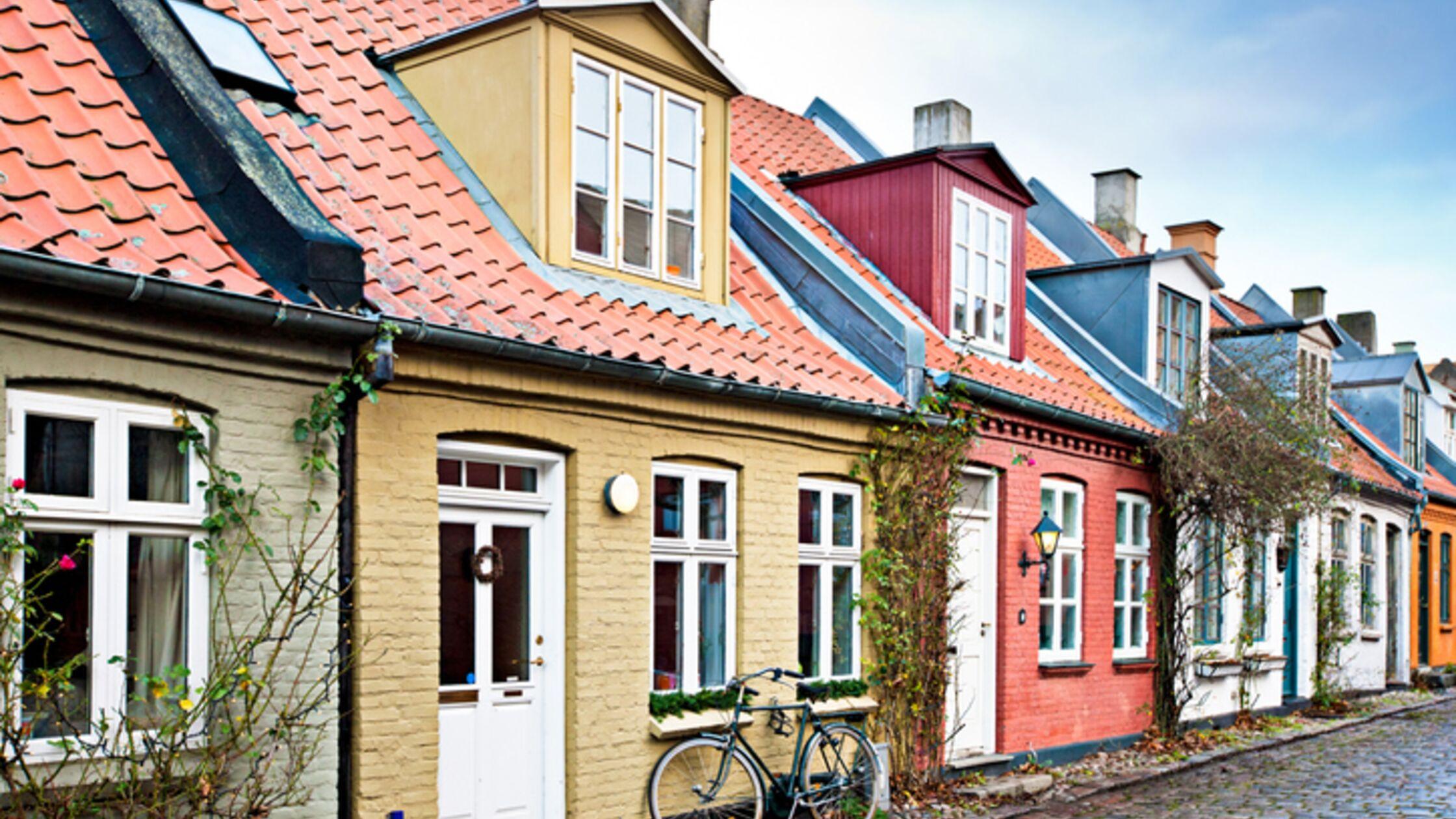 Bunte Häuser in Aarhus, Dänemark
