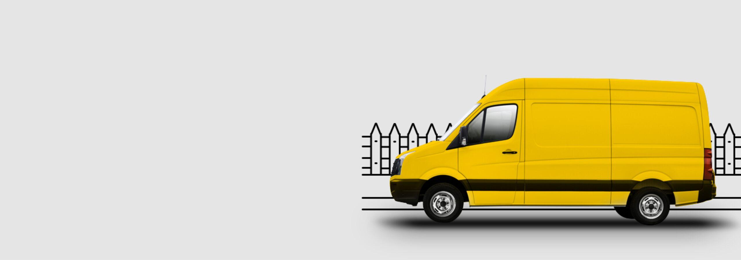 Gelber Umzugswagen
