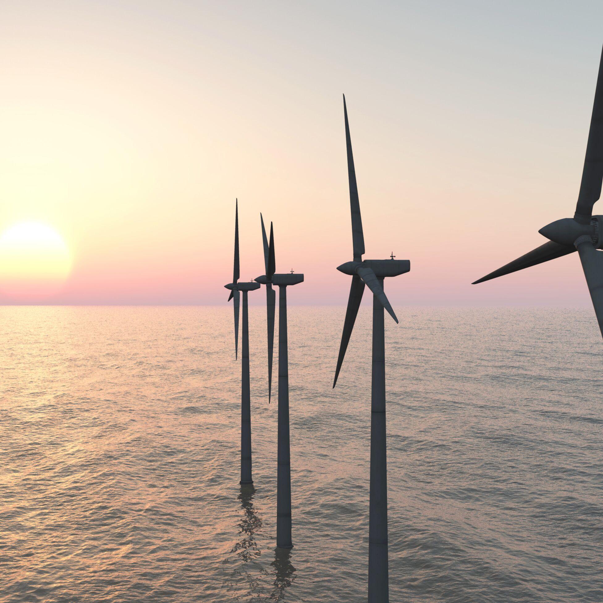 Offshore-Windpark: Windräder im Meer.